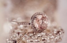 A diamond ring and loose diamonds.