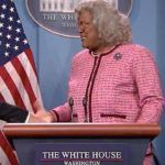 "Jimmy Fallon (Donald Trump) and Tyler Perry (Madea) occupy the White House briefing room on ""The Tonight Show."""