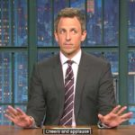 "Seth Meyers performs his brief anti-Trump rap on ""Late Night."""