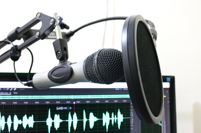 A microphone and computer with digital audio sound waves displayed on the screen. Photo from Pixabay.