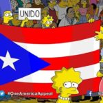 "Characters of ""The Simpsons"" display Puerto Rican flag in still image from show's season debut."