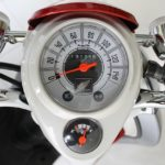 A motorcycle speed gauge.