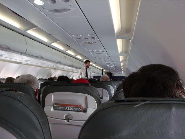 a commercial airplane's interior.
