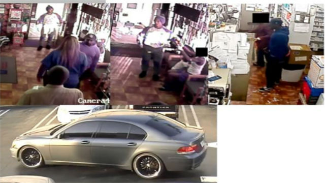 Security video photos of three armed robbery suspects, and their vehicle. Photos from the Los Angeles Police Department.