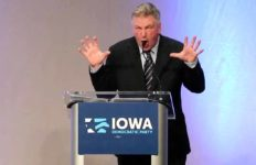 Alec Baldwin at Democratic Party event in Des Moines, Iowa, playing Donald Trump.