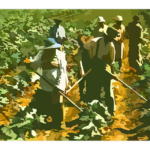 An illustration of farmworkers in the field. From Pixabay.