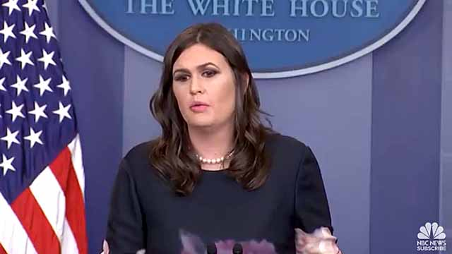 White House press secretary Sarah Huckabee Sanders on Nov. 17, 2017.