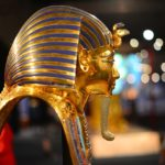A golden mask of King Tut in profile. Photo from Pixabay.