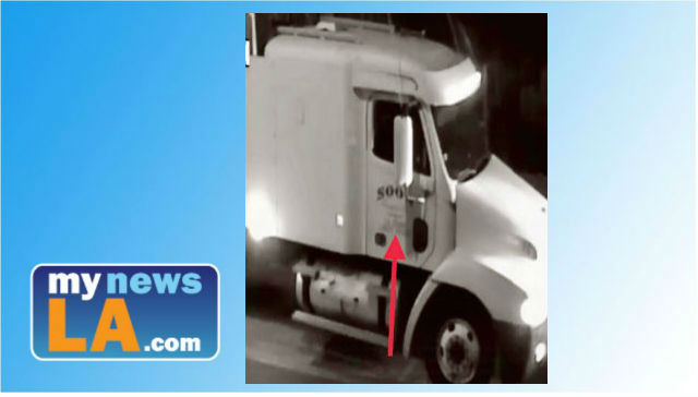 A close-up of the cab of a big-rig that police believe was used in a fatal hit and run collision in Boyle Heights, on Dec. 21, 2017. There is a $50,000 reward for information that could help police solve the crime. Photo from the Los Angeles Police Department.
