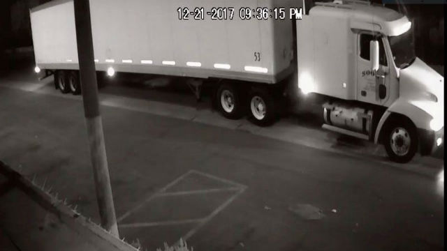 Photo of an 18-wheel truck that police believe was used in a fatal hit and run collision in Boyle Heights on Dec. 21, 2017. A $50,000 reward has been offered for information that could help solve the crime. Photo from the Los Angeles Police Department.