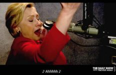 "Hillary Clinton ""sings"" in cameo during ""The Yearly Show"" with Trevor Noah on Comedy Central."