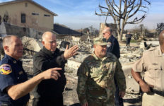 Gov. Jerry Brown surveys damage from the Thomas Fire in Ventura County. Courtesy Governor's Press Office