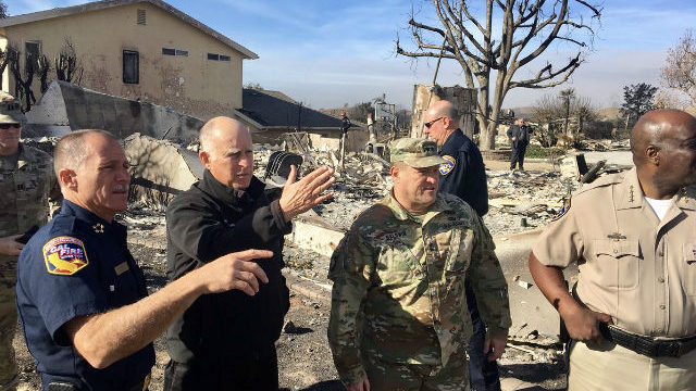 Jerry Brown at Thomas Fire