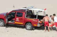 Los Angeles Lifeguards pickup truck