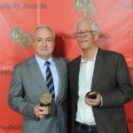 Michael Apted (right) and Lorne Michaels at the Peabody Awards in 2013.
