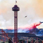Aircraft drops fire retardant near Magic Mountain