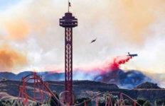 Aircraft drops fire retardant near Magic Mountain