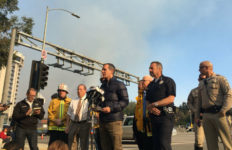 Press conference at Skirball fire