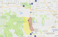 Skirball Fire evacuation area