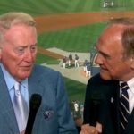 Dodgers announcer Vin Scully and Padres sportscaster Dick Enberg shared memories during their last season, 2016.