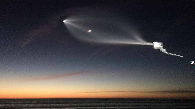 Strange shapes and lights seen from Pacific Beach Pier were the SpaceX rocket launch from Vandenberg Air Force Base.