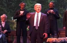 "Donald Trump figure speaks at Disney World's ""Hall of Presidents."""