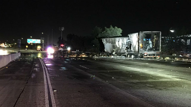 The Burned Wreckage Of The Big Rig On The 5 Freeway In Sun Valley Courtesy Caltrans
