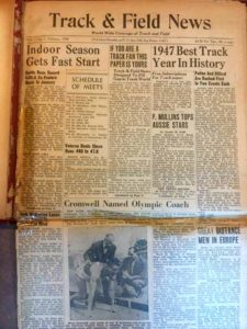First issue of Track & Field News was in newspaper format.