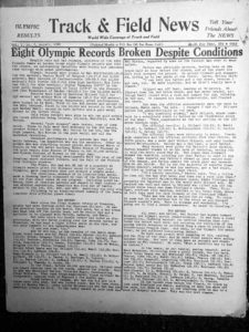 First Olympic results issue of Track & Field News covered the 1948 London Games.