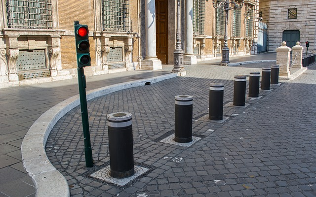 An example of security bollards, or barriers, separating roadway and pedestrian areas. Photo from Pixabay.
