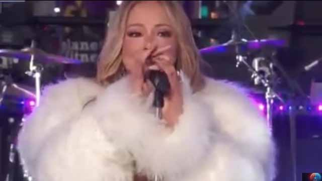 Mariah Carey during New Year's Eve performance