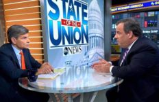 """George Stephanopoulos chats with Chris Christie on ABC's """"Good Morning America."""""""