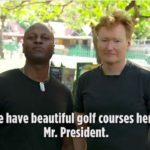 Conan O'Brien with Haitian in recent visit for TBS special.