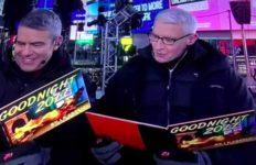 Andy Cohen and Anderson Cooper on CNN New Year's Eve show from Times Square.