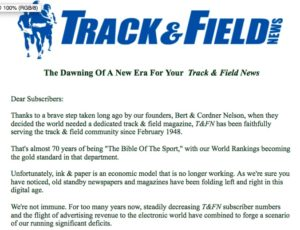 Letter to subscribers from Track & Field News.