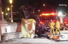 A man was found dead inside a burning vehicle on Gaffey Street on the southbound Harbor (110) Freeway in San Pedro Monday morning, authorities said. Photo via OnScene.TV.