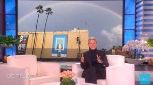 Ellen DeGeneres tells of seeing rainbow over her studio 10 minutes before her father died.