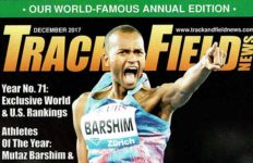 Cover of the final print-edition Track & Field News in December 2017, featuring Man of the Year Mutaz Barshim.