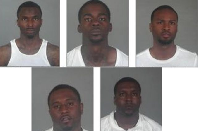 Robbery suspects (top row from left): Trey Dickerson, 25; Sebastian Glass, 20; and Shai Fields, 24. Bottom row from left: Adrian Caldwell, 26, and Darrian Haywood, 27. Photos courtesy of Torrance Police Department.
