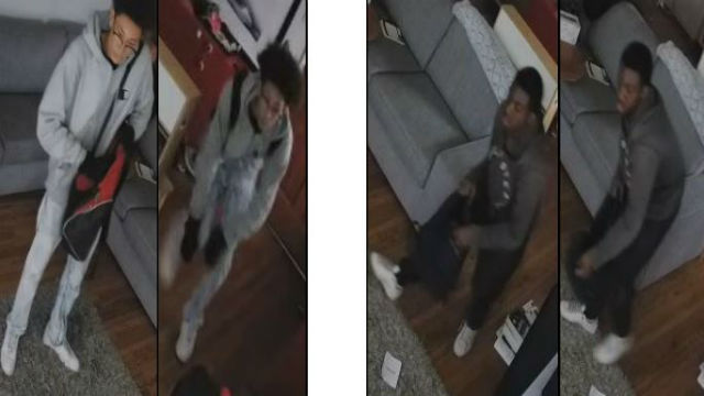 Police Tuesday circulated security photos of two suspects wanted in a Culver City residential burglary. Photos from the Culver City Police Department.