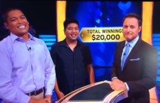 "David Tamayo (left) with his cousin Ryan and ""Millionaire"" host Chris Harrison"