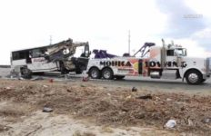 The bus wreckage being towed following the deadly Oct. 23, 2016 crash on Interstate 10.