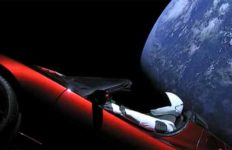 SpaceX image of Elon Musk Tesla Roadster on way into space.