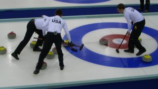 In this photo a curling team competes. A United States team has reached the finals of the Olympic competition for the first time since 1981. Photo from Pixabay.
