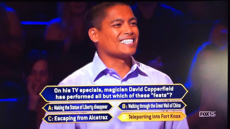 David Tamayo got audience help to pick the right answer about David Copperfield.