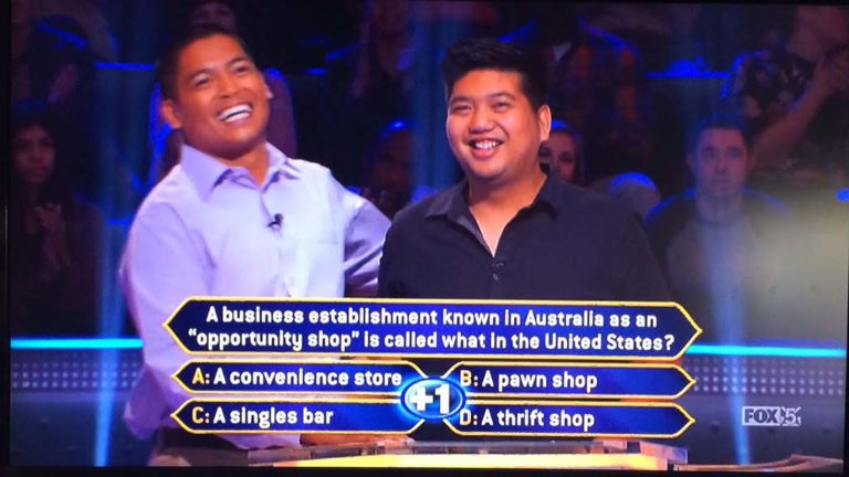 """Cousin Ryan Tamayo (right) couldn't help with answer and suggested David Tamayo """"walk away"""" with $20,000."""