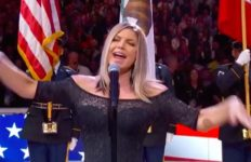 Fergie sings the national anthem at NBA All-Star Game at the Staples Center.