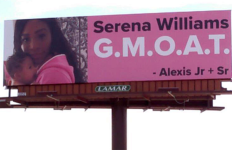 Husband's final billboard message to Serena Williams near Palm Springs.