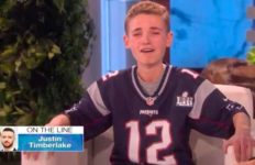"Ryan McKenna reacts to hearing voice of Justin Timberlake on ""The Ellen DeGeneres Show."""