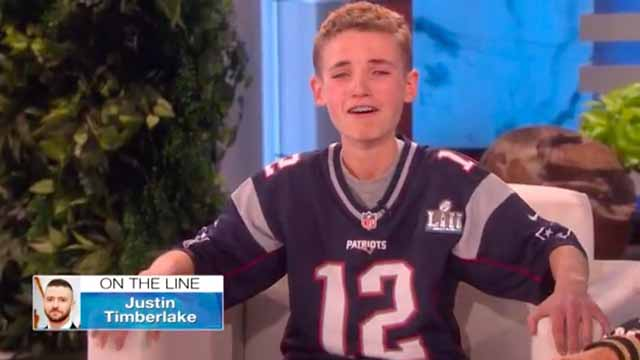 Justin Timberlake surprises Super Bowl selfie kid on The Ellen DeGeneres Show